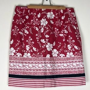 LOFT Cranberry White Floral Pique Pencil Skirt